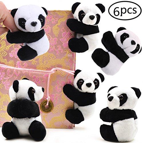 JETTINGBUY 6 Pcs Finger Panda, Cute Panda Plush Toy Panda Clip Relaxation Toys Finger Toy Kids Toy Home Decoration