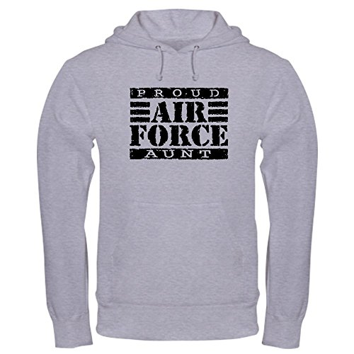 CafePress Proud Air Force Aunt Pullover Hoodie, Classic & Comfortable Hooded Sweatshirt Heather Grey