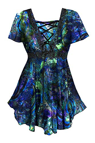 Dare to Wear Victorian Gothic Boho Women's Plus Size Angel Corset Top Peacock S