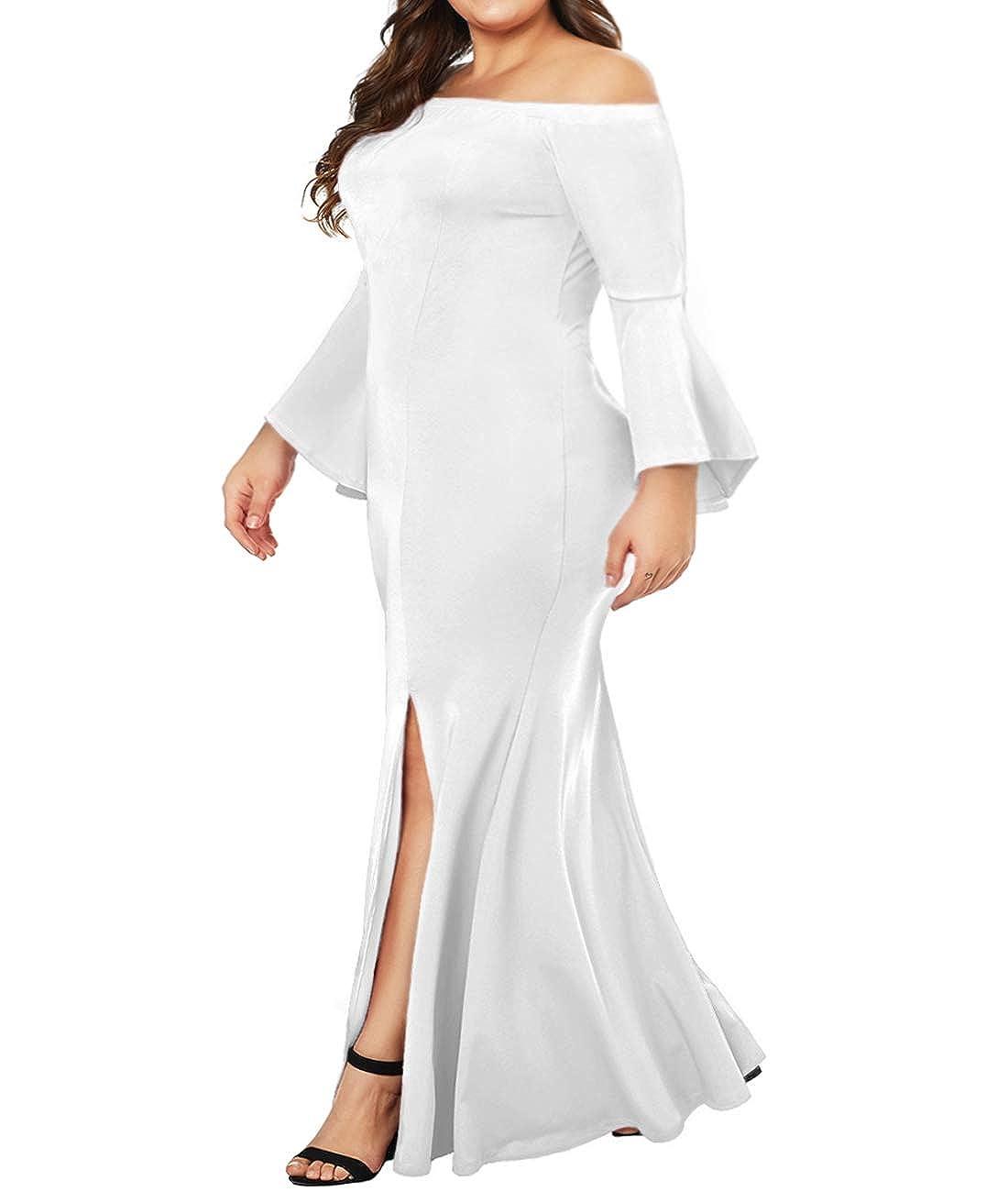 746bdf2635e Amazon.com: Innerger Women Plus Size Off Shoulder Bodycon Party Dress  Evening Formal Gown White XXXXL: Clothing