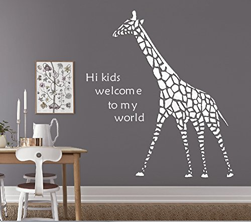 2.75' Drop (3D wall Decals Giraffe DIY Wall Stickers TV Setting Wall TV Sofa Backdrop for Wall Decor Home Decor Black White Brown Available (White, 50.4''x39.4'' 2.75''))