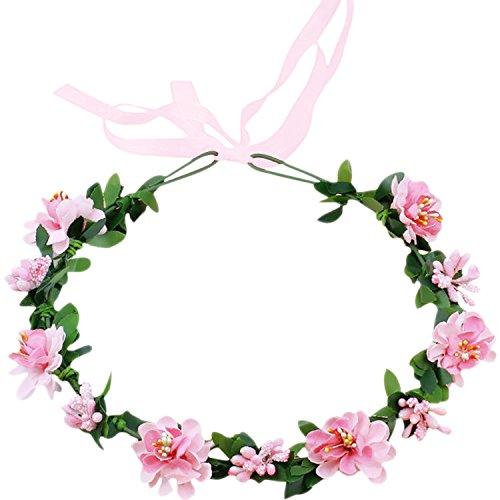 Flower Crown Wedding Hair Wreath Floral Headband Garland Photo Shoot Accessory Pink (Pink Great Photo)