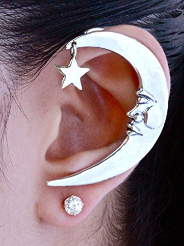 Celebrity Style Jewelry (Sterling Silver Crescent Moon and Star Ear Wrap Celebrity Style Jewelry)