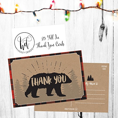 25 4x6 Blank Woodland Christmas Holiday Thank You Postcards Bulk, Cute Kraft Winter Snowflake Note Card Stationery For Wedding, Bridesmaids, Bridal or Baby Shower, Teachers, Religious, Business Cards Photo #4