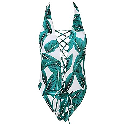 Women's Sexy Leaves Printed Lace Up V Neck Swimsuits Bathing Suits - One Piece Halter Push Up Bikini Monokini Swimwear
