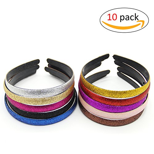 Adecco LLC Glitter Covered Girls Plastic Headbands With Teeth Different Colors 10 Pcs Per Pack (Glitter)