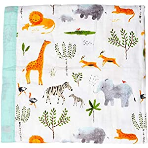 "Muslin Stroller Blanket -""Jungle Print"" Bamboo Summer Blanket for Toddler – Oversized 47″ x 47″ – 2 Layers Muslin Baby Blanket for Baby Boy and Girl(Jungle)"