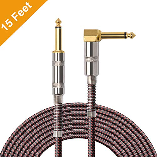 OTraki 15FT Instrument Cable Electric Guitar Bass Cables 1/4 inch Straight to Right Angle 6.35mm Gold Plated Instruments Cord 4.5 Meter for Guitar Bass Keyboard Effector Microphone Mixer