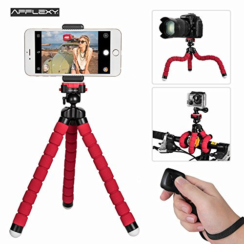 Phone Tripod, AFFLEXY 10.7 Inch Flexible and Adjustable iPhone Tripod Mount with Remote and Universal Clip, Portable Tripod for iPhone, Android Phone, Camera, Webcam and GoPro by AFFLEXY
