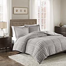 Madison Park Duke Faux Fur Plush Bedding 3 Piece Comforter Set Super Soft and Cozy Warm, King/Cal King, Grey