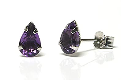 9ct Gold Amethyst 5mm Stud earrings Gift Boxed Made in UK