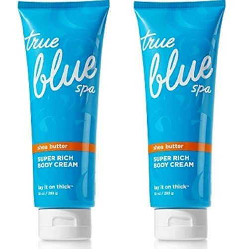 Set of 2 Bath and Body Works True Blue Spa Lay It On Thick Super Rich Body Creams 10 Ounce Each