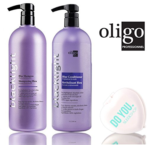 - Oligo Blacklight Blue Shampoo & Conditioner DUO Set - Professional Formula for highlighted, bleach, white, and natural blonde hair (with Sleek Compact Mirror) (32 oz / 1000ml - large liter DUO)