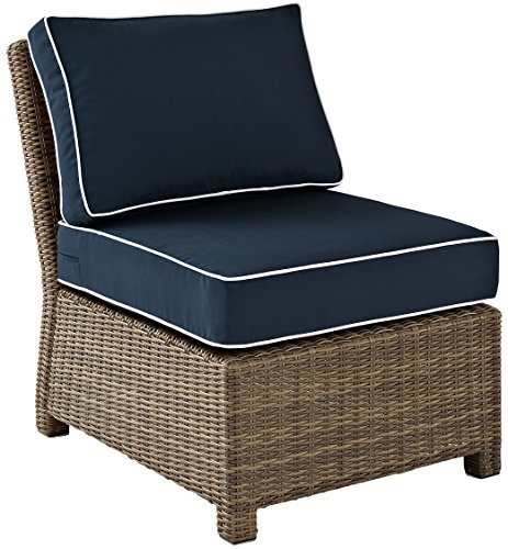 Crosley Furniture Bradenton Outdoor Wicker Sectional Center Chair with Cushions - Navy