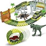 AUUGUU Dinosaur Race Car Track Train Toys, Perfect Birthday for 3 4 5 6 7 Year Old Boys Kids, Jurassic World Dinosaur Park Playset with 142 Pieces Tracks, 2 Dinosaurs and 2 Vehicle