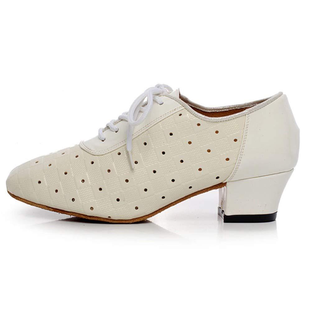 HCCY Chunky Bianco con Scarpe Scarpe Scarpe da Ballo Moderne da Donna Scarpe da Ballo Latino a Tacco Basso per Adulti fe2910