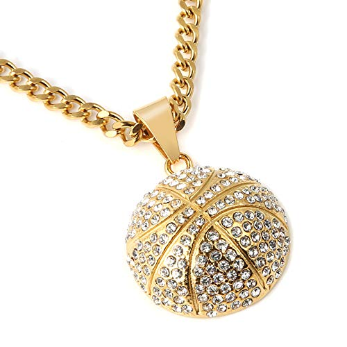 e282473a702 HZMAN Mens 18k Gold Plated Basketball CZ Inlay Pendant Hip Hop 22+2