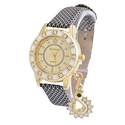 Souarts Artificial Leather Round Dial Rhinestone Bracelet Quartz Wrist Watch Blue