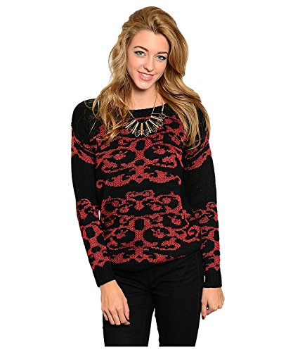 G2 Chic Women's Warm Long Sleeve Graphic Knit Sweater Top(TOP-SWT,DRD-M)