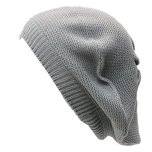 an Gray Beret Beanie Hat for Women Fashion Lightweight Knit Solid Color