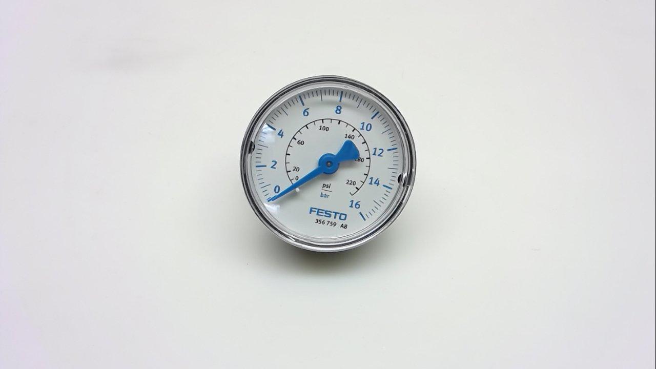 Festo Ma-50-16-1/4-U, Pressure Gauge, 0-220 Psi, 0-16 Bar Ma-50-16-1/4-U