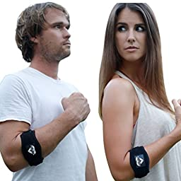 Tennis Elbow Brace (2-Pack) with Compression Pad by PlayActive Sports - Best Tennis & Golfer\'s Elbow Strap Band – Relieves Tendonitis and Forearm Pain - Includes Two Elbow Support Braces and E-Guide
