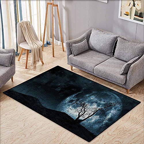 Pet Rug,Fantasy,Night Moon Sky with Tree Silhouette Gothic Halloween Colors Scary Artsy Background,Extra Large Rug,5'3
