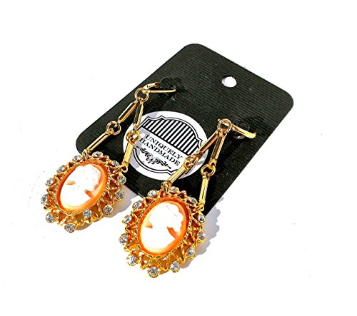 Cameo Gold Tone Earrings - Antique Cameo Drop Earrings