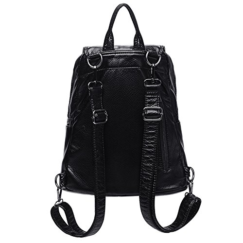 Backpack School Black Waterproof Black3 Washed Women Mini Leather Purse Backpack travel for PU rwrxUv4zq
