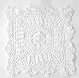 Fennco Styles Handmade Crochet Lace 18-inch Cotton Doilies - 2-Pack (Square, White)