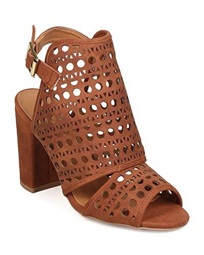 Qupid FC34 Women Nubuck Peep Toe Perforated Block Heel Mule Sandal - Cognac