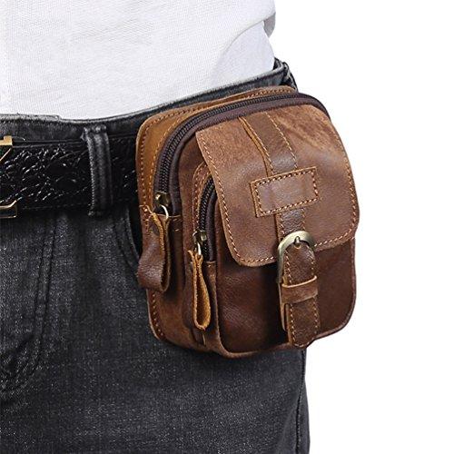 VBIGER Men Cowhide Waist Bag Retro Waist Pack Fanny Bag Cellphone Waist Pouch by VBIGER (Image #6)