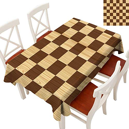 - Checkered Elegant Waterproof Spillproof Polyester Fabric Table Cover Empty Checkerboard Wooden Seem Mosaic Texture Image Chess Game Hobby Theme Tablecloths for Rectangle/Oblong/Oval TablesBrown Light