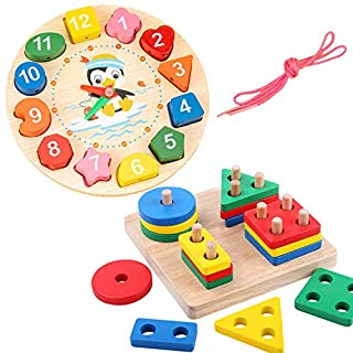 Wooden Sorting Stacking Montessori Toys&Toddler Educational Clock Toy with Lacing Beads - for Kids Shape Color Number Time Match Learning Teaching Puzzle Game for 3 4 5 Years Old Boys Girls