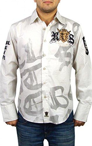 Rebel Spirit Men's Lion Wings Button Up Woven Shirt M Cement