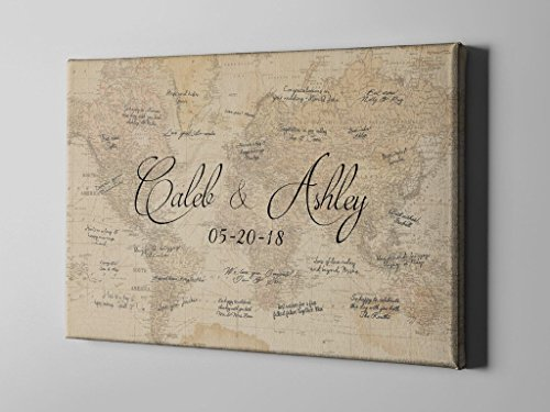 SALE 50% Off Canvas Guest Book, World Map Signature GuestBook, Destination Wedding Guest Book, Gift Idea for NewlyWeds, Gift under 100, FREE SHIPPING! - CGB67