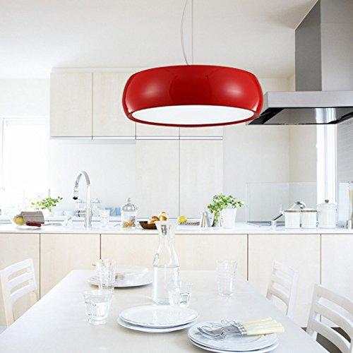 YanCui@ Continental Vintage living room/restaurant/bar/cafe/warehouse/bedroom stylish decorative lights Snare drum LED aluminum colored chandelier (45cm) , big red