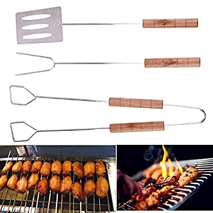 Grill Tools - 3pcs Set Stainless Steel Barbecue Grilling Set Tongs K Clamp Shovel Spatula Bbq