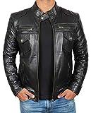 Blingsoul Black Mens Leather Motorcycle Jacket   [1100767] Kenton, 3XL