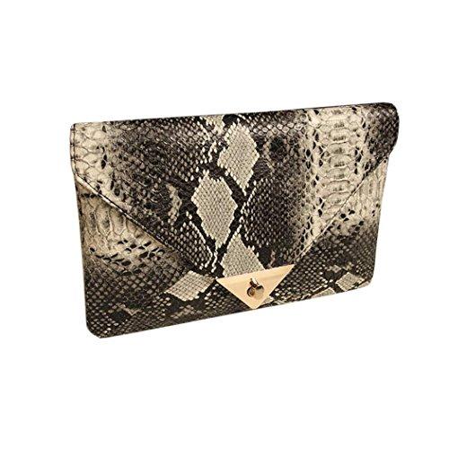 FINEJO® Fashion Women's Snake Skin Envelope Bag Day Clutches Purse Evening Bag