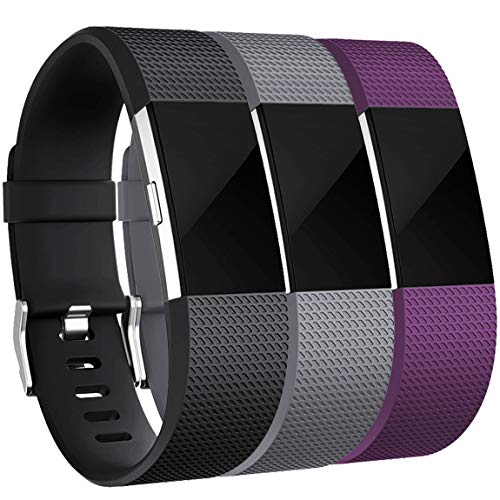 Maledan Bands Replacement Compatible with Fitbit Charge 2, 3-Pack, Black/Grey/Plum, Large
