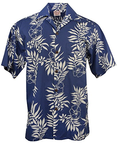Mini Go Barefoot (Go Barefoot - Mini Tahitian - Men's Hawaiian Print Aloha Shirt - in Blue-White - Large)