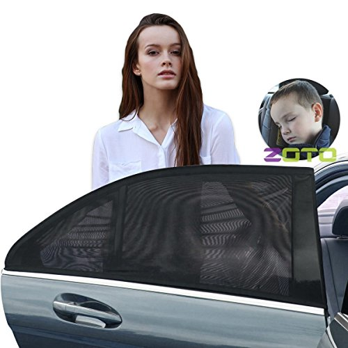 ZOTO Car Rear Window Sun Shade, Premium Breathable Mesh Sun Shield protect Baby/Pet from Sun's Glare & Harmful UV Rays, Universal Car Curtains Fit For Cars, Trucks and SUV's (Pack of 2,Large Size) (Rear Window Frame)