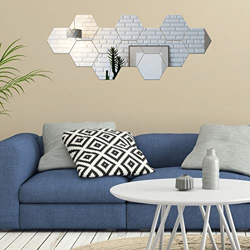Espejos Pegatinas de Pared Adornos Decoración 12PCS Pegatinas para Espejos Adhesivos de Acrílico Hexagonales Azulejos…