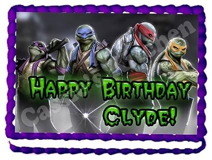 Teenage Mutant Ninja Turtles 1/4 Sheet Edible Photo Birthday Cake Topper. ~ Personalized!