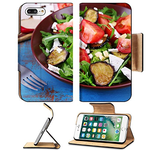 Luxlady Premium Apple iPhone 7 Plus Flip Pu Leather Wallet Case iPhone7 Plus 34165140 Eggplant salad with tomatoes arugula and feta cheese on napkin on color wooden background