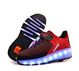 laideqi USB Charging LED Roller Skate Shoes Light Up Glowing Flashing Sneakers for Kids(Red 1 Wheel 28 M EU/11.5 M US Little Kid)
