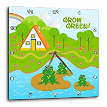 3dRose Grow green message and frogs in the pond - Wall Clock, 15 by 15-inch (dpp_125878_3)