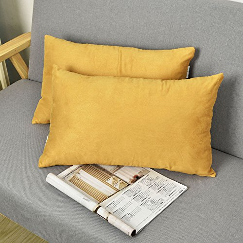 Oblong Accent Pillow (2 Pieces Luxury Velvet Oblong Throw Pillow Covers Cushion Cover for Sofa by Natus Weaver , 12