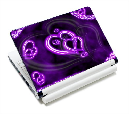 Purple Hearts Fashion 11.6 12.1 13 13.3 14 15 15.4 15.6 Netbook Laptop Skin Sticker Reusable Protector Cover Case for 11.6 -15.6 Inch Apple Acer Leonovo Sony Asus Toshiba Hp Samsung Dell